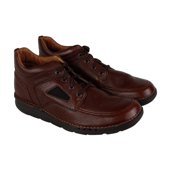 Clarks Unnature Mid Mens Brown Leather Casual Dress Lace Up Oxfords Shoes