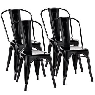 Costway Set of 4 Distressed Style Dining Side Chair Stackable Bistro Cafe Metal Black - Set of 4