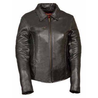 Womens Leather Shirt Collar Jacket Braiding Detail (Option: Xs)