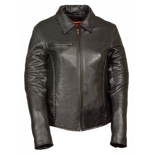 Womens Leather Shirt Collar Jacket Braiding Detail (Option: Small)