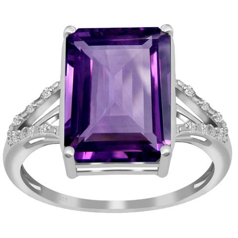 Multi Color Gemstones Sterling Silver Octagon, Round Solitaire Ring by Orchid Jewelry