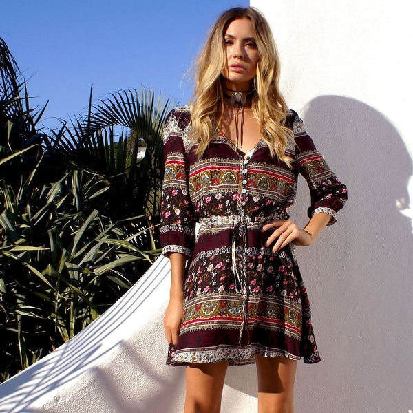 125553516c55a Boho Style Floral Print Dress