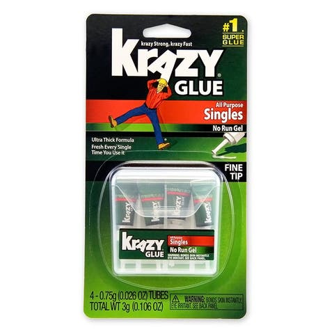 Krazy Glue KG58248SN All Purpose Single-Use Gel, 0.75-Gram (4-Pack)