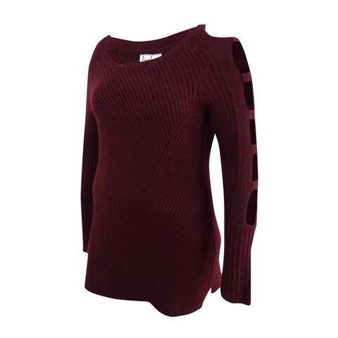 Almost Famous Juniors' Ladder-Sleeve Sweater (M, Burgundy) - Burgundy - M