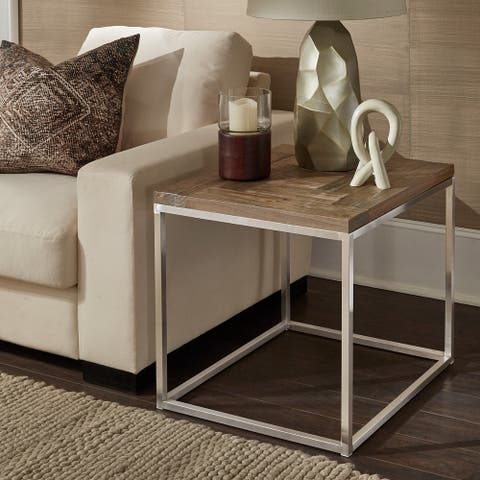 Keenan Stainless Steel Rectangular End Table by iNSPIRE Q Modern - End Table