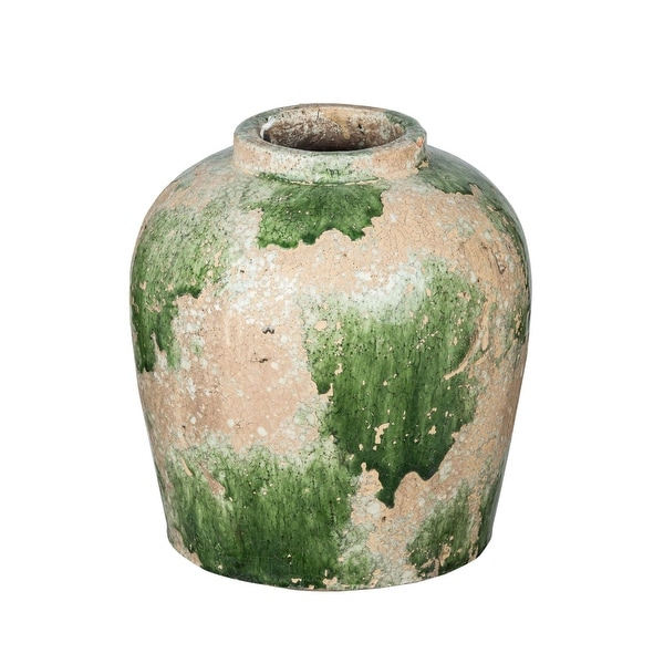 """9.75"""" Round Green and Beige Vase With a Unique Shape - N/A"""