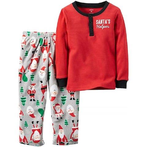Carter's Little Boys' 2 Piece Fleece Santa's Helper, Print, 7 Kids