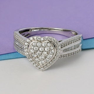 Link to 1/2ct TDW Diamond Heart Shape Halo Promise Ring in Silver by De Couer Similar Items in Children's Jewelry