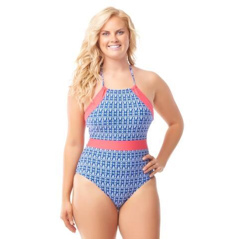 Sea & Sand Beachwear Halter High Neck One Piece Bathing Suit