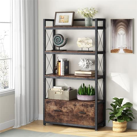 Lateral Filing Cabinet with Drawer & Storage Shelves Bookcase