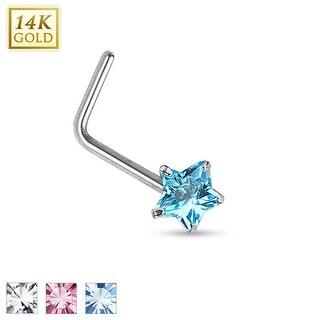 14Kt White Gold Prong Star CZ L Bend Nose Ring - 20GA (Sold Ind.)