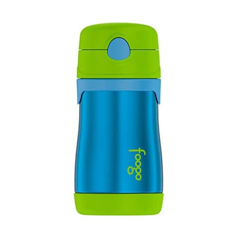 Thermos Foogo Vacuum Insulated Stainless Steel Straw Bottle (10 oz/ Green/Blue)