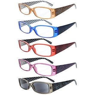 5-Pack Spring Hinges Polka Dots Patterned Temples Reading Glasses Sun Readers +2.75