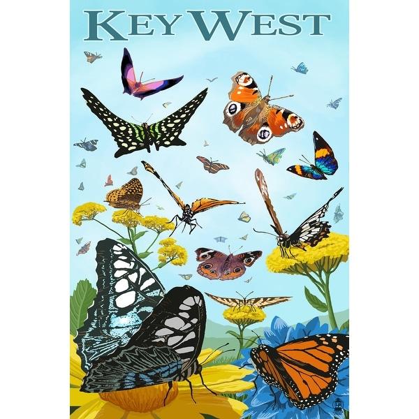 Key West, FL - Butterfly Garden - LP Artwork (Acrylic Wall Clock)