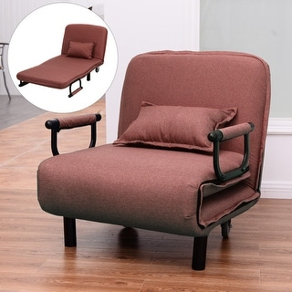 Costway Sofa Bed Folding Arm Chair 29.5'' Width Convertible Sleeper Leisure Recliner New