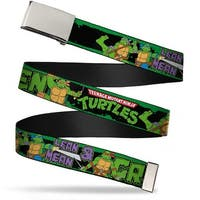 "Blank Chrome 1.0"" Buckle Classic Tmnt Logo Group Pose5 Lean Mean & Green Web Belt 1.0"" Wide - S"