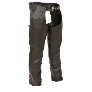 Mens Classic Leather Chaps with Jean Pockets (Option: Medium)