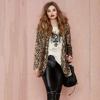 Women  Faux Fur Coat Leopard Sexy Wild Winter Loaded With Warm Fashion Coat