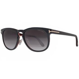Tom Ford Franklin TF346 01V 55mm Black/Brown Gray Gradient Square Sunglasses - black/havana brown - 55mm-17mm-145mm
