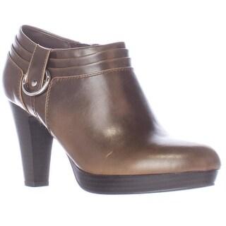 AL35 Genevie Low Platform Ankle Booties - Dark Brown