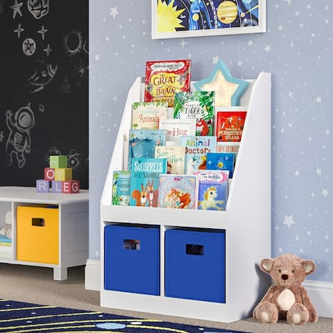 RiverRidge Home Kids Bookrack with Two Cubbies, White