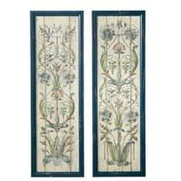 """Set of 2 Assorted Green and Blue Wood Framed Floral Scroll Wall Decor 43"""""""
