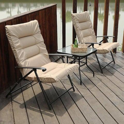 PHI VILLA Patio Padded Folding Conversation Chair Set 3 PCS