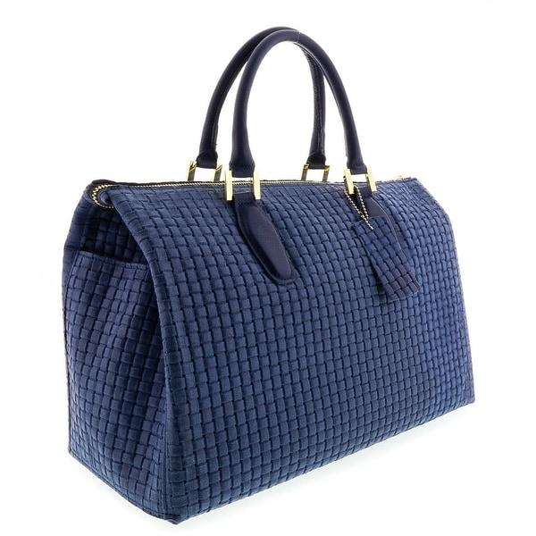 HS2021 BLU TALIA Blue Leather Satchel/Top Handle Bag