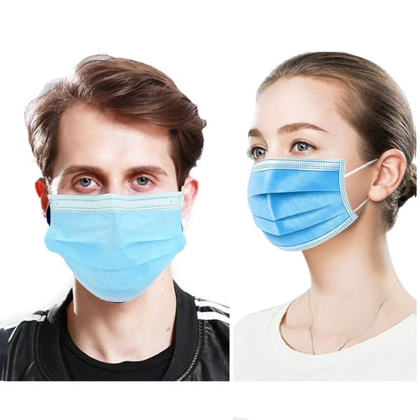 50 PcsFace Cover Masks 3Ply Layers with Earloop, Breathable Non-Woven - 50 Pcs Blue. Opens flyout.