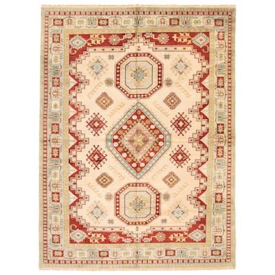 ECARPETGALLERY Hand-knotted Royal Kazak Ivory Wool Rug - 8'2 x 11'11