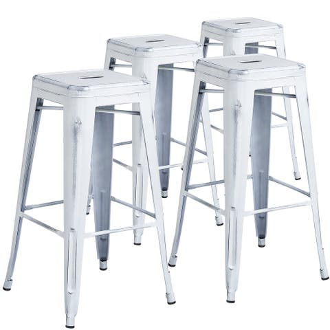 Distressed Metal Indoor-Outdoor 30-inch Backless Barstool (Set of 4)