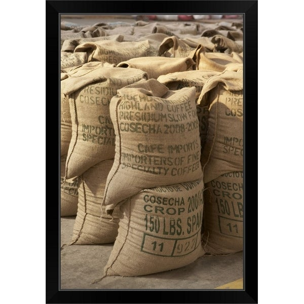 """Coffee beans packed in sacks, Guatemala"" Black Framed Print"