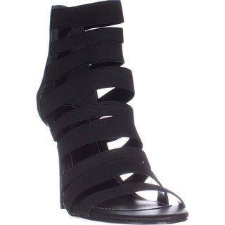 Charles Charles David Rider Black Elastic Sandals, Black (More options available)