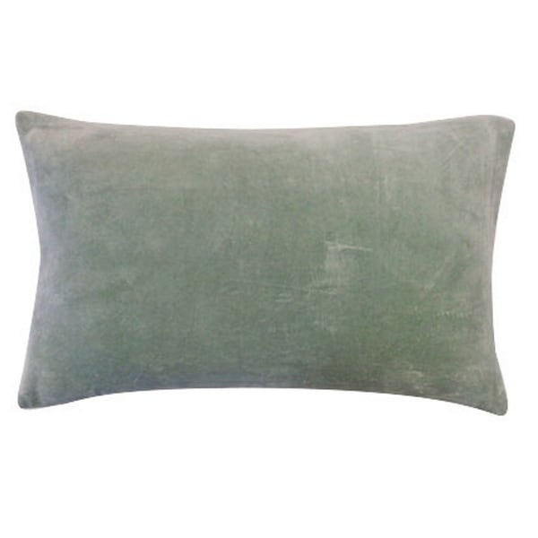 Vivai Home Dusty Blue Solid Color Rectangle 12x 20 Cotton Feather Throw Pillow