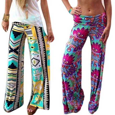 Women's Summer Floral Pants Casual High Waist Flare Wide Leg Long Trousers