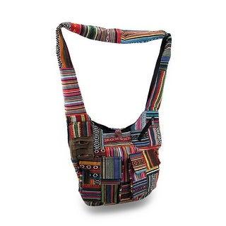Colorful Boho Striped Cotton Tapestry Cross Body Bag w/Razor Cut Pocket