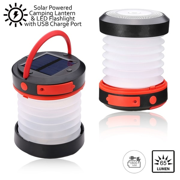 Indigi® Solar Powered LED Camping Lantern - USB Port for Recharging SmartPhones - 65 Lumens - 1800mAh Capacity - Collapsible
