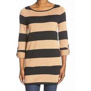 Caslon NEW Beige Women's Size XS Striped Roll Tab Boat Neck Sweater
