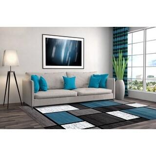 """Blue/Grey Polypropylene Contemporary Modern Boxes Area Rug - 3'3"""" x 5'"""
