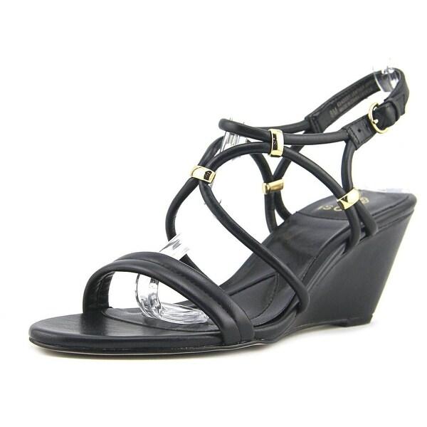 Isola Farah Women Open Toe Leather Black Wedge Sandal