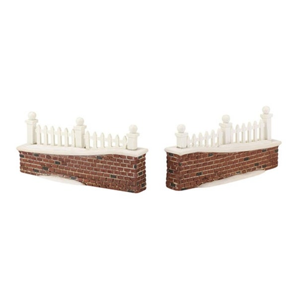 "Department 56 Snow Village ""Picket Lane Wall"" 2-Piece Accessory Set #4033844 - brown"