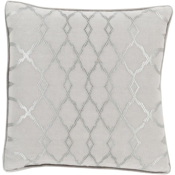 "18"" Diamond Elegance Dolphin and Wisp Gray Decorative Pillow – Down Filler"