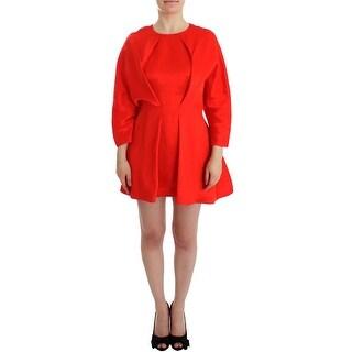 Fyodor Golan Fyodor Golan Red Mini Linen 3/4 Sleeve Sheath Dress