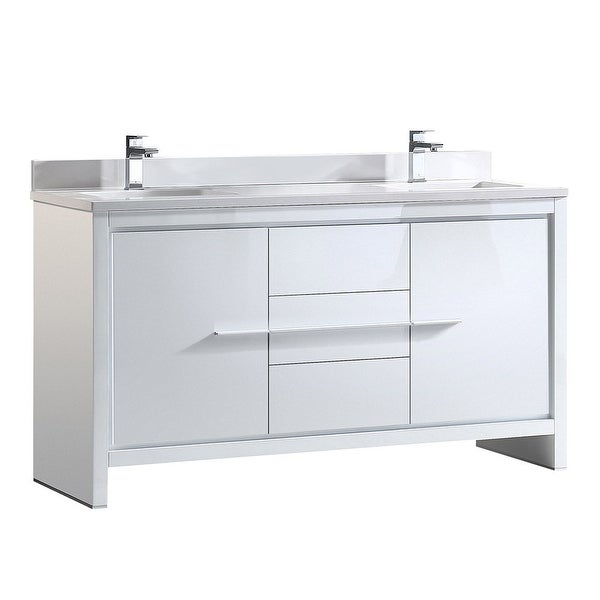 "Fresca FCB8119-U Allier 60"" Free Standing Vanity Set with Plywood Cabinet, Quartz Vanity Top, and Dual Undermount Sinks"