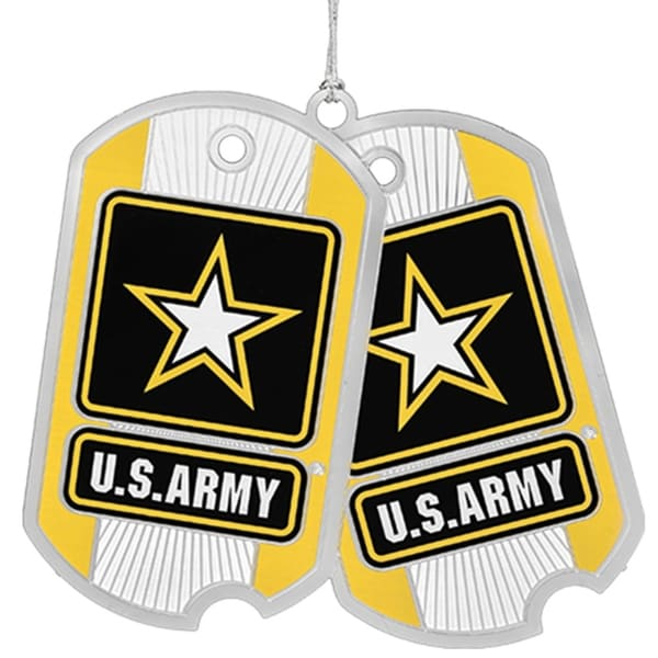 "3"" Yellow, Black, and White US Army Dog Tags Christmas Ornament"