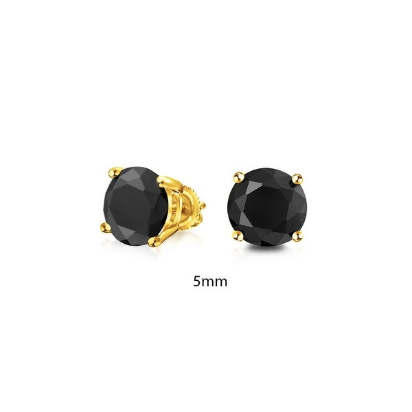 c61898bf2 Shop Gold Plated Sterling Silver Round Black CZ Screw Back Posts Stud  Earrings 5mm - On Sale - Free Shipping On Orders Over $45 - Overstock -  25970172