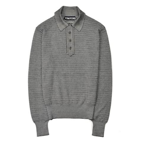 Tom Ford Mens Black Checkered Cotton Polo Long Sleeve Shirt - 38