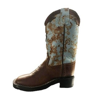 Old West Cowboy Boots Boys Girls Kids Square 9 Child Brown