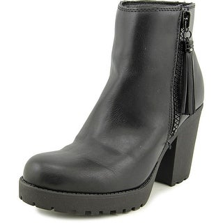 Madden Girl Como Women Round Toe Synthetic Black Ankle Boot