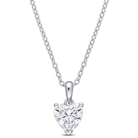 Miadora Sterling Silver 1ct TGW Created White Moissanite Solitaire Heart Necklace